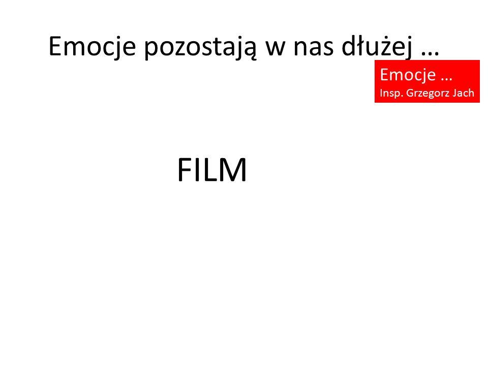 Emocje pozostają w nas dłużej … Emocje … Insp. Grzegorz Jach FILM