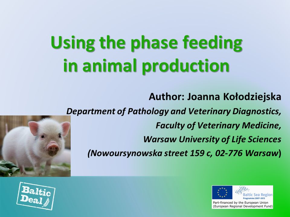 Using the phase feeding in animal production Author: Joanna Kołodziejska Department of Pathology and Veterinary Diagnostics, Faculty of Veterinary Medicine, Warsaw University of Life Sciences (Nowoursynowska street 159 c, 02-776 Warsaw)
