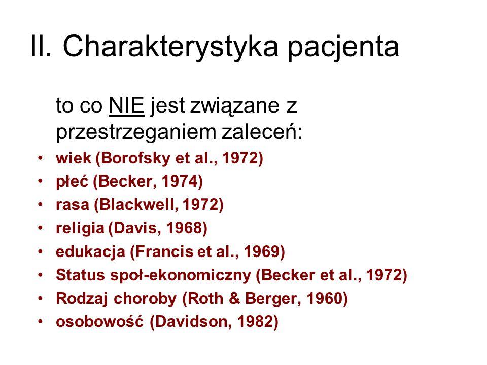 II. Charakterystyka pacjenta to co NIE jest związane z przestrzeganiem zaleceń: wiek (Borofsky et al., 1972) płeć (Becker, 1974) rasa (Blackwell, 1972