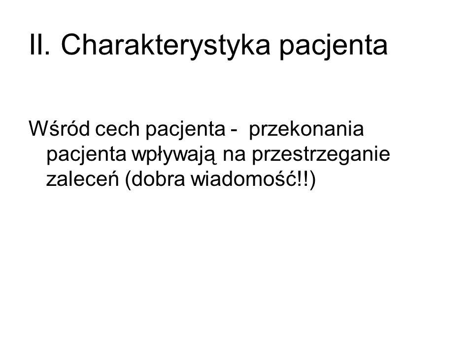 II. Charakterystyka pacjenta Wśród cech pacjenta - przekonania pacjenta wpływają na przestrzeganie zaleceń (dobra wiadomość!!)