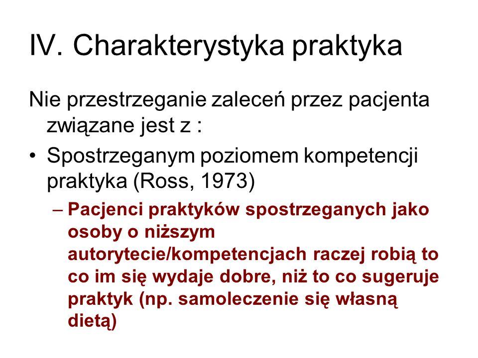IV. Charakterystyka praktyka Nie przestrzeganie zaleceń przez pacjenta związane jest z : Spostrzeganym poziomem kompetencji praktyka (Ross, 1973) –Pac