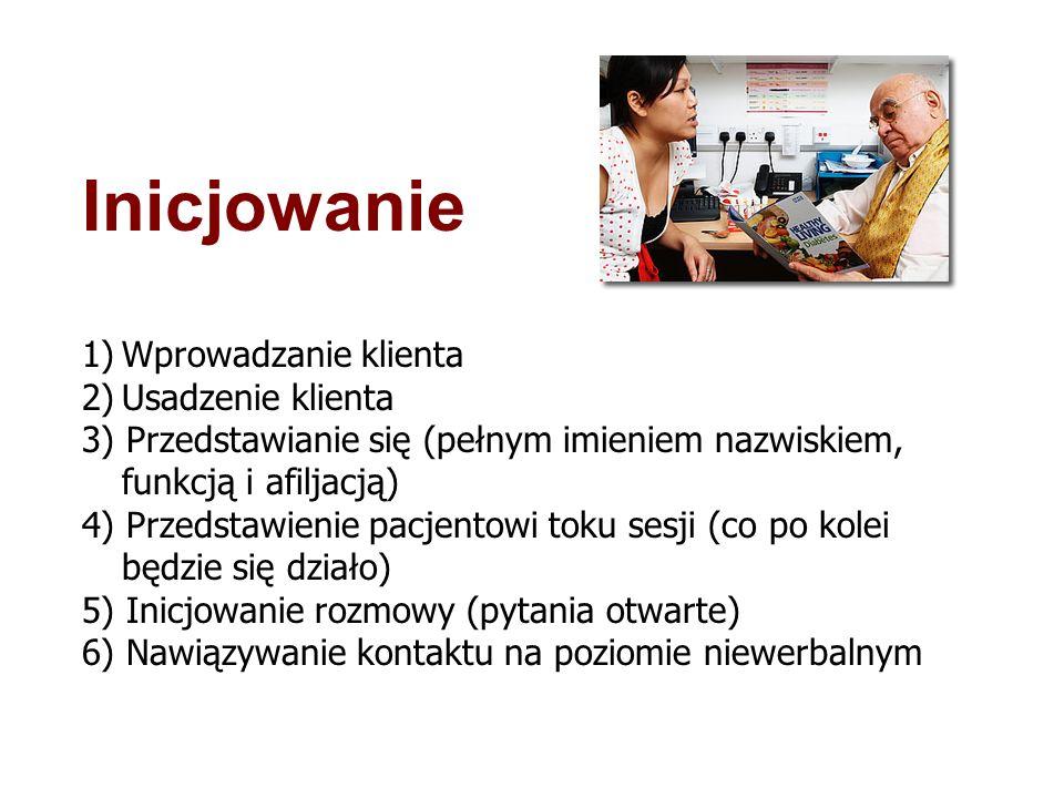 Inicjowanie 1)Wprowadzanie klienta 2)Usadzenie klienta 3) Przedstawianie się (pełnym imieniem nazwiskiem, funkcją i afiljacją) 4) Przedstawienie pacje