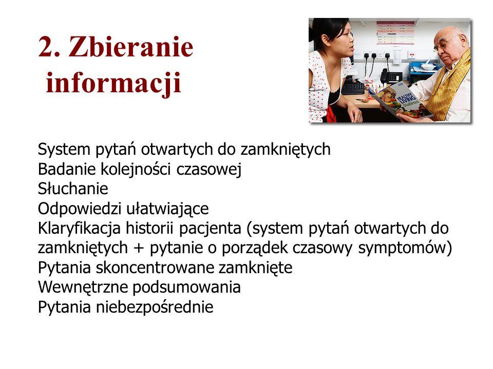 2. Zbieranie informacji System pytań otwartych do zamkniętych Badanie kolejności czasowej Słuchanie Odpowiedzi ułatwiające Klaryfikacja historii pacje
