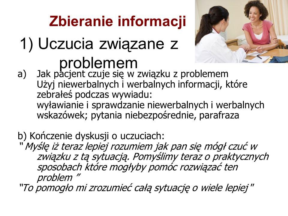 1) Uczucia związane z problemem a)Jak pacjent czuje się w związku z problemem Użyj niewerbalnych i werbalnych informacji, które zebrałeś podczas wywia