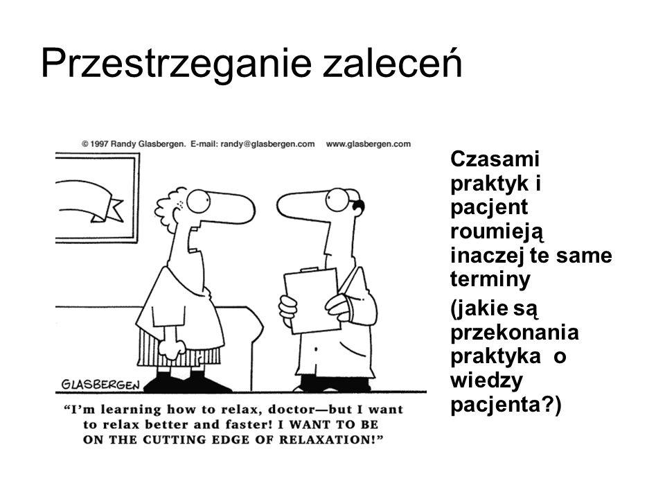 Czasami praktyk i pacjent roumieją inaczej te same terminy (jakie są przekonania praktyka o wiedzy pacjenta ) Przestrzeganie zaleceń