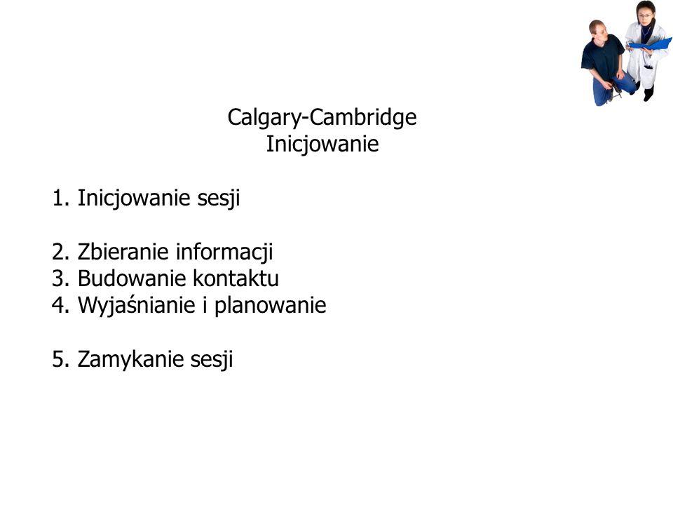 Calgary-Cambridge Inicjowanie 1. Inicjowanie sesji 2. Zbieranie informacji 3. Budowanie kontaktu 4. Wyjaśnianie i planowanie 5. Zamykanie sesji