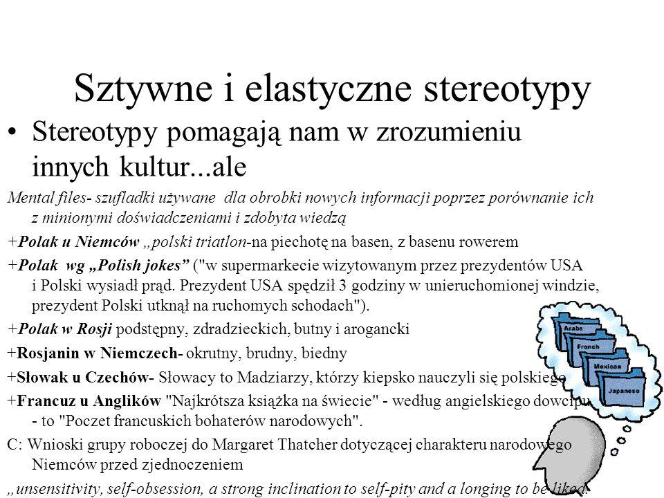"""Sztywne i elastyczne stereotypy Stereotypy pomagają nam w zrozumieniu innych kultur...ale Mental files- szufladki używane dla obrobki nowych informacji poprzez porównanie ich z minionymi doświadczeniami i zdobyta wiedzą +Polak u Niemców """"polski triatlon-na piechotę na basen, z basenu rowerem +Polak wg """"Polish jokes ( w supermarkecie wizytowanym przez prezydentów USA i Polski wysiadł prąd."""