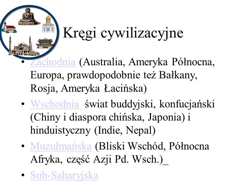 Kręgi cywilizacyjne Zachodnia (Australia, Ameryka Północna, Europa, prawdopodobnie też Bałkany, Rosja, Ameryka Łacińska)Zachodnia Wschodnia świat buddyjski, konfucjański (Chiny i diaspora chińska, Japonia) i hinduistyczny (Indie, Nepal)Wschodnia Muzułmańska (Bliski Wschód, Północna Afryka, część Azji Pd.
