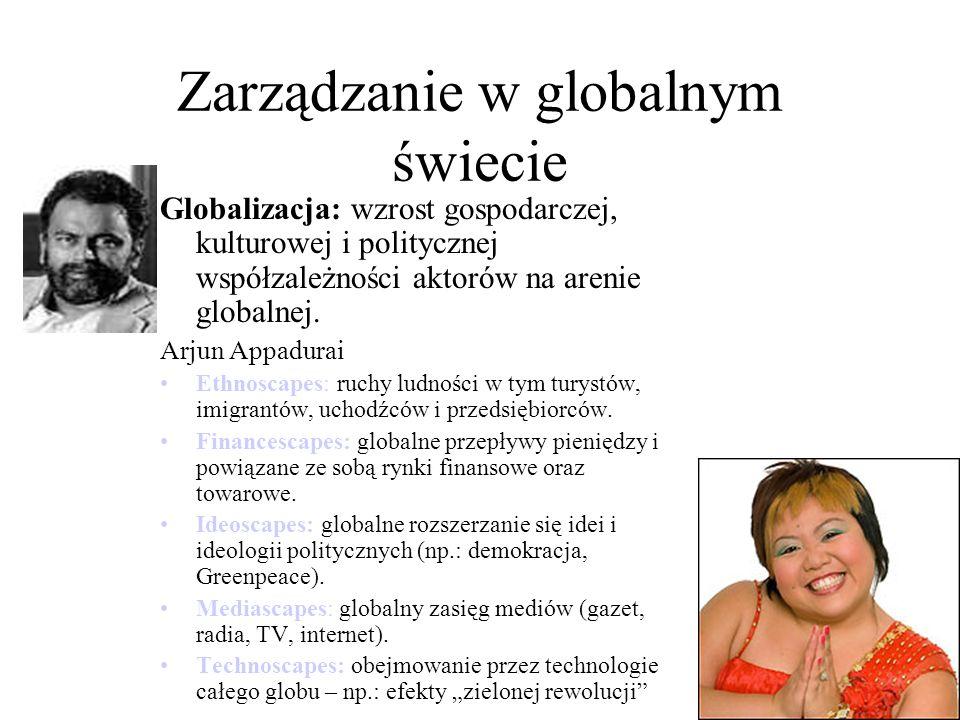 Zarządzanie w globalnym świecie Globalizacja: wzrost gospodarczej, kulturowej i politycznej współzależności aktorów na arenie globalnej.