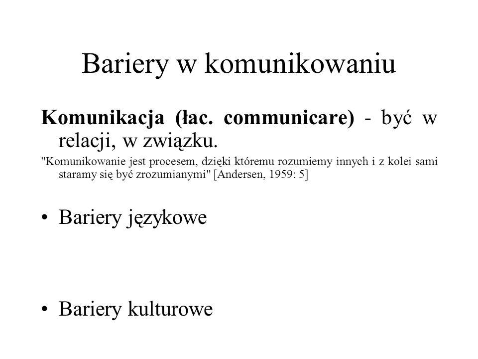 Bariery w komunikowaniu Komunikacja (łac. communicare) - być w relacji, w związku.