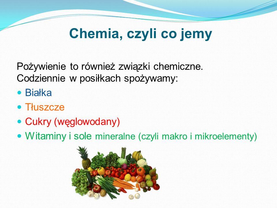 Chemia, czyli co jemy Pożywienie to również związki chemiczne. Codziennie w posiłkach spożywamy: Białka Tłuszcze Cukry (węglowodany) Witaminy i sole m