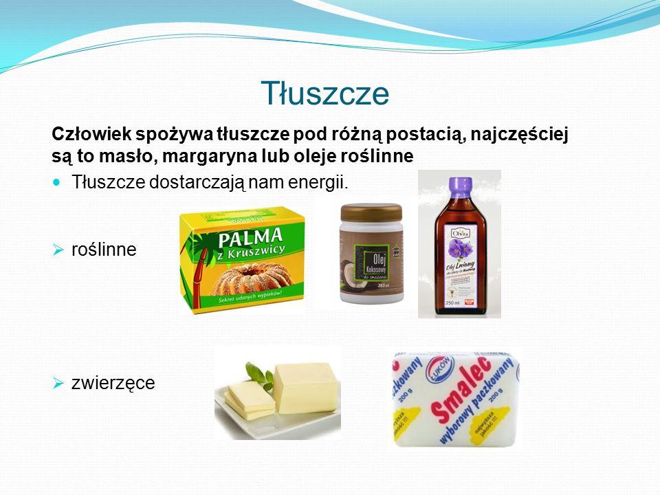 Tłuszcze Człowiek spożywa tłuszcze pod różną postacią, najczęściej są to masło, margaryna lub oleje roślinne Tłuszcze dostarczają nam energii.  rośli