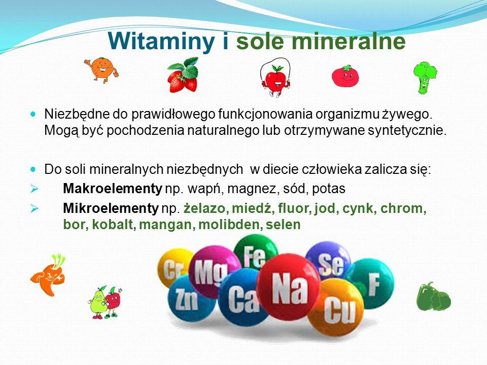 Witaminy i sole mineralne Niezbędne do prawidłowego funkcjonowania organizmu żywego. Mogą być pochodzenia naturalnego lub otrzymywane syntetycznie. Do