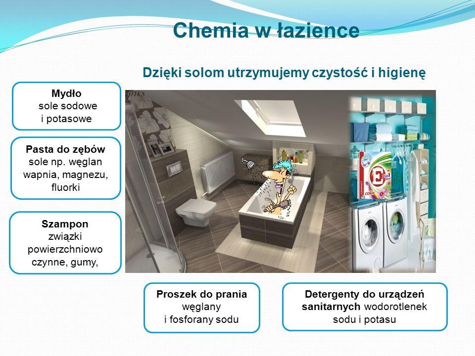 Pasta do zębów sole np. węglan wapnia, magnezu, fluorki Proszek do prania węglany i fosforany sodu Mydło sole sodowe i potasowe Szampon związki powier