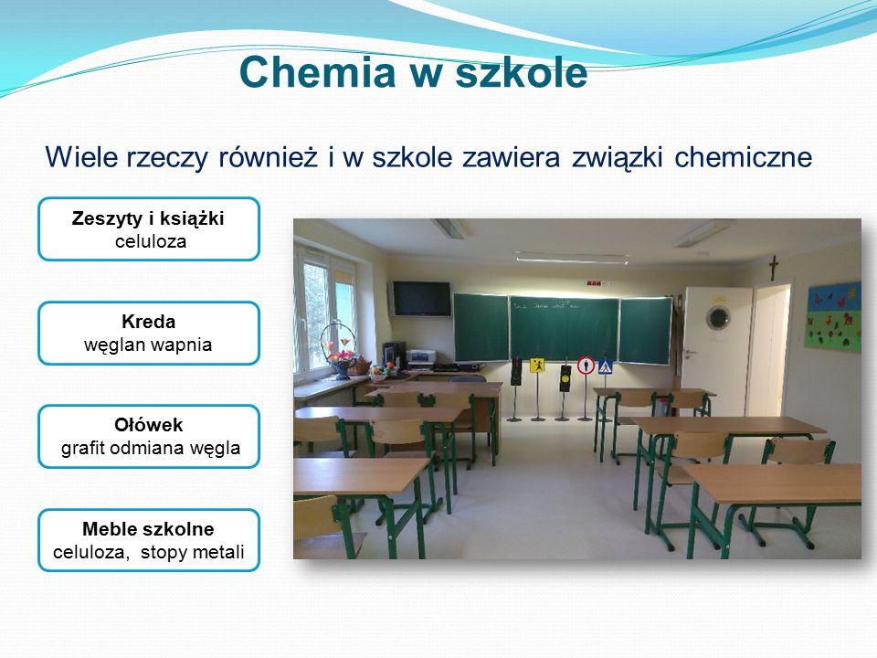 Wiele rzeczy również i w szkole zawiera związki chemiczne Zeszyty i książki celuloza Ołówek grafit odmiana węgla Kreda węglan wapnia Chemia w szkole M