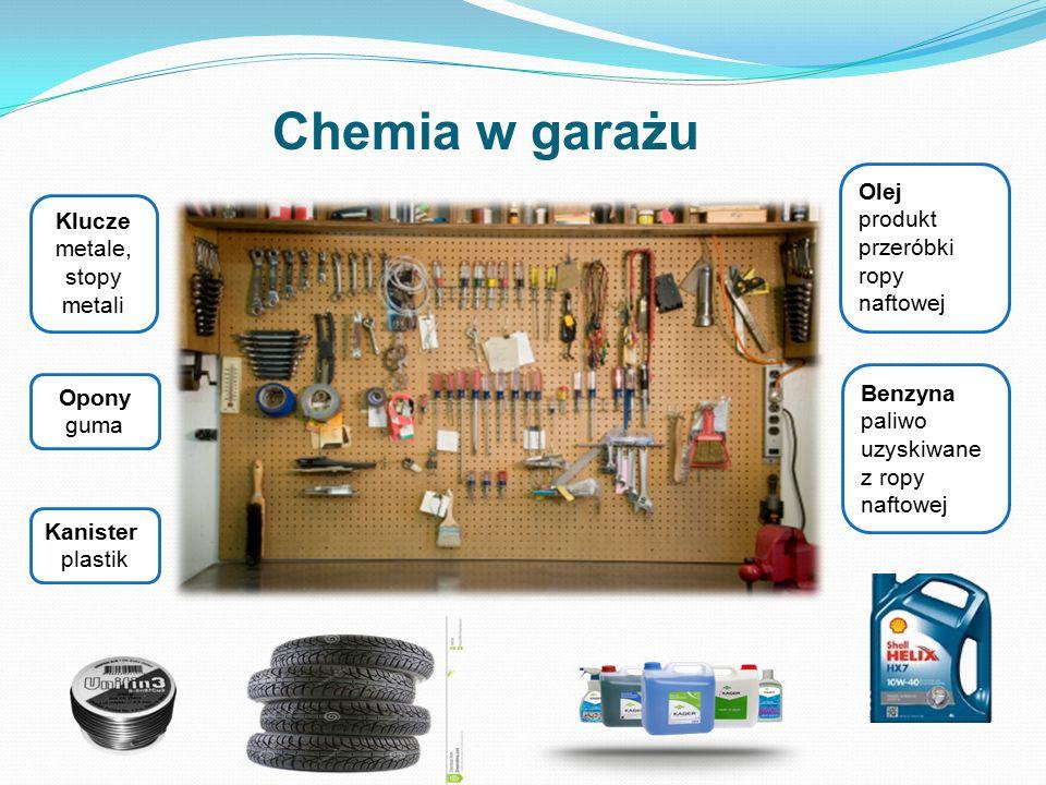 Opony guma Klucze metale, stopy metali Olej produkt przeróbki ropy naftowej Benzyna paliwo uzyskiwane z ropy naftowej Chemia w garażu Kanister plastik