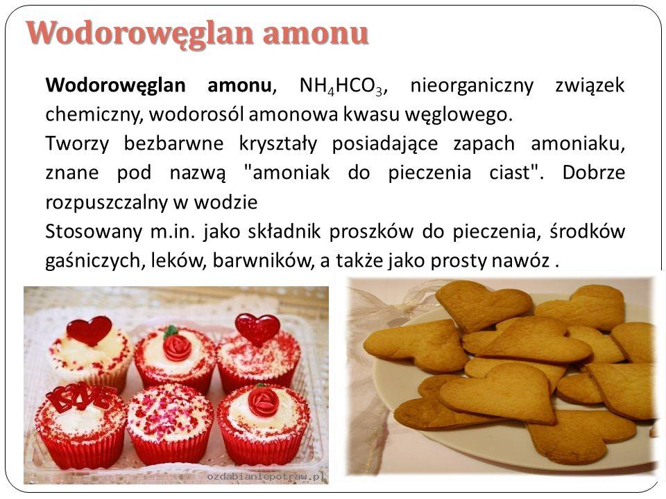 Wodorowęglan amonu Wodorowęglan amonu, NH 4 HCO 3, nieorganiczny związek chemiczny, wodorosól amonowa kwasu węglowego. Tworzy bezbarwne kryształy posi