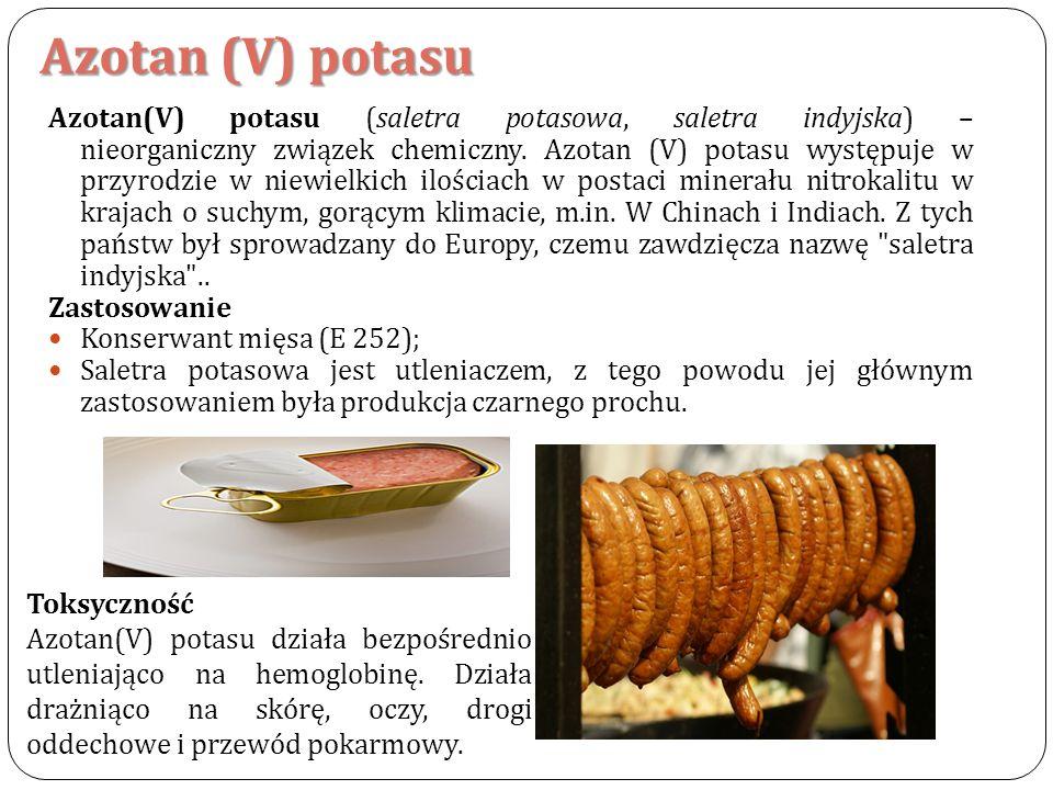 Azotan (V) potasu Azotan(V) potasu (saletra potasowa, saletra indyjska) – nieorganiczny związek chemiczny. Azotan (V) potasu występuje w przyrodzie w