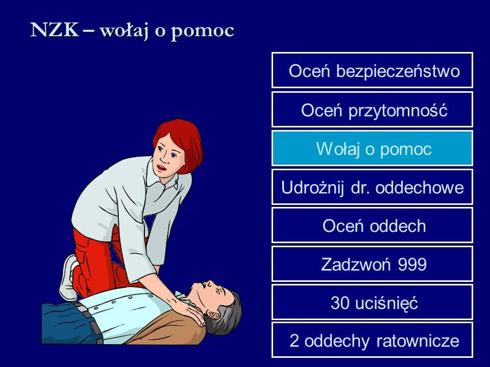 Udrożnij dr. oddechowe Wołaj o pomoc Oceń przytomność Oceń bezpieczeństwo 30 uciśnięć Zadzwoń 999 Oceń oddech 2 oddechy ratownicze NZK – wołaj o pomoc