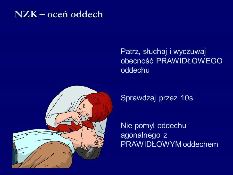 Patrz, słuchaj i wyczuwaj obecność PRAWIDŁOWEGO oddechu Sprawdzaj przez 10s Nie pomyl oddechu agonalnego z PRAWIDŁOWYM oddechem NZK – oceń oddech