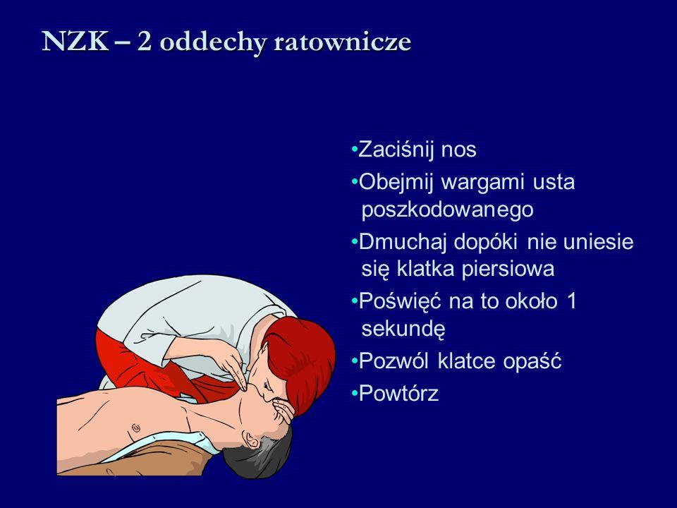 Zaciśnij nos Obejmij wargami usta poszkodowanego Dmuchaj dopóki nie uniesie się klatka piersiowa Poświęć na to około 1 sekundę Pozwól klatce opaść Pow