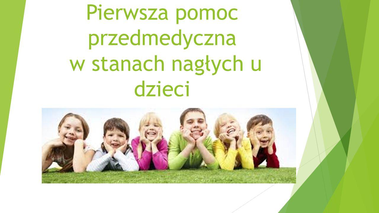 POMOC W PRZYPADKU ZADŁAWIENIA Dziecko: Jeśli oddycha samodzielnie – zachęcaj do kaszlu jeśli jest nieefektywny zastosuj uciśnięcia nadbrzusza (rękoczyn Heimlicha) lub uderzenia w plecy przy pochyleniu do przodu (głowa niżej niż tułów) jeśli dziecko straci przytomność, ułóż je na wznak i uciskaj nadgarstkiem klatkę piersiową 5-6 razy jak do masażu serca próbuj wykonać do 5 efektywnych wdechów jeśli nieskuteczne; podejmij resuscytację krążeniowo-oddechową
