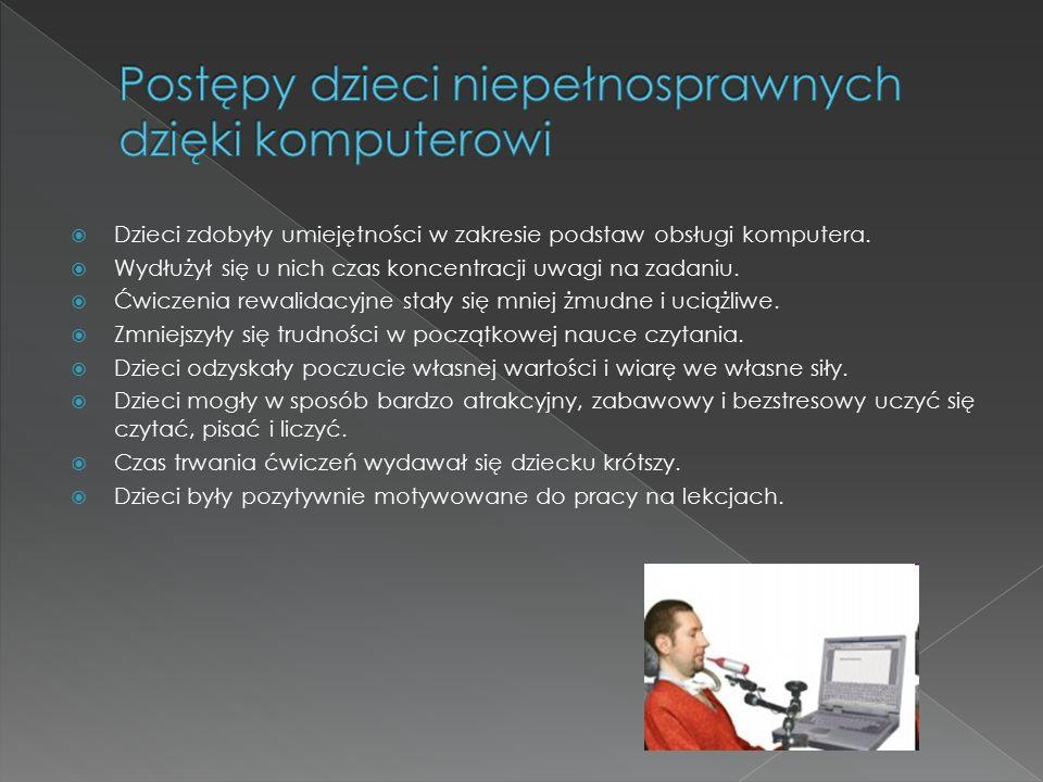  Dzieci zdobyły umiejętności w zakresie podstaw obsługi komputera.