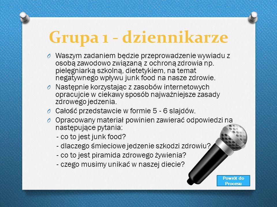 Grupa 1 - dziennikarze O Waszym zadaniem będzie przeprowadzenie wywiadu z osobą zawodowo związaną z ochroną zdrowia np. pielęgniarką szkolną, dietetyk