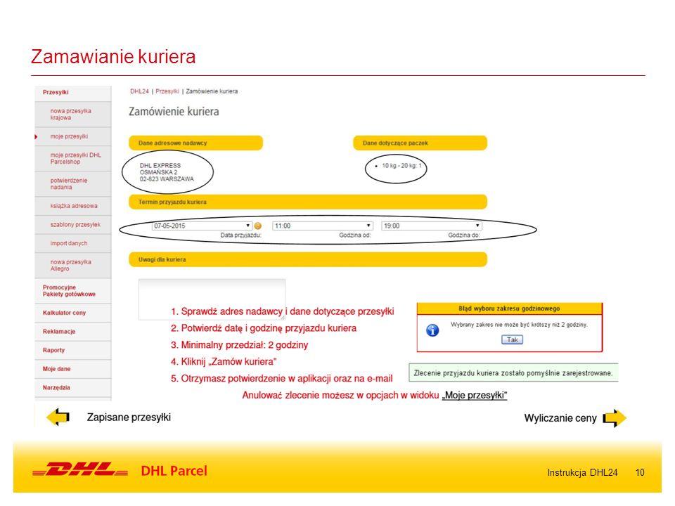 10Instrukcja DHL24 Zamawianie kuriera