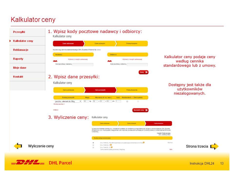 13Instrukcja DHL24 Kalkulator ceny