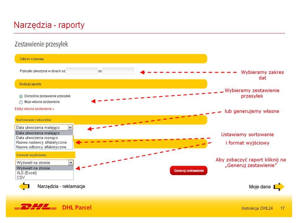 17Instrukcja DHL24 Narzędzia - raporty