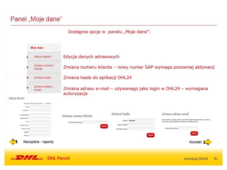 "18Instrukcja DHL24 Panel ""Moje dane"