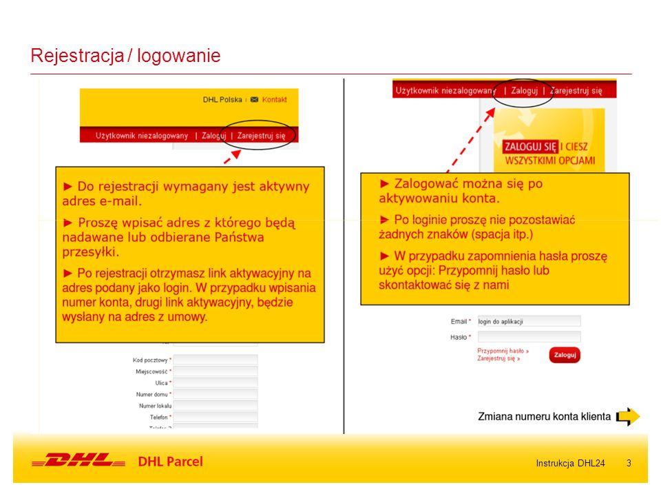 3Instrukcja DHL24 Rejestracja / logowanie
