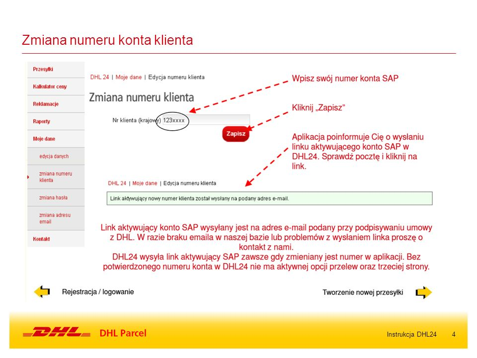4Instrukcja DHL24 Zmiana numeru konta klienta
