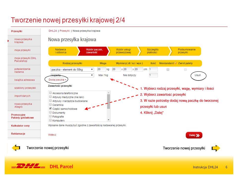 6Instrukcja DHL24 Tworzenie nowej przesyłki krajowej 2/4