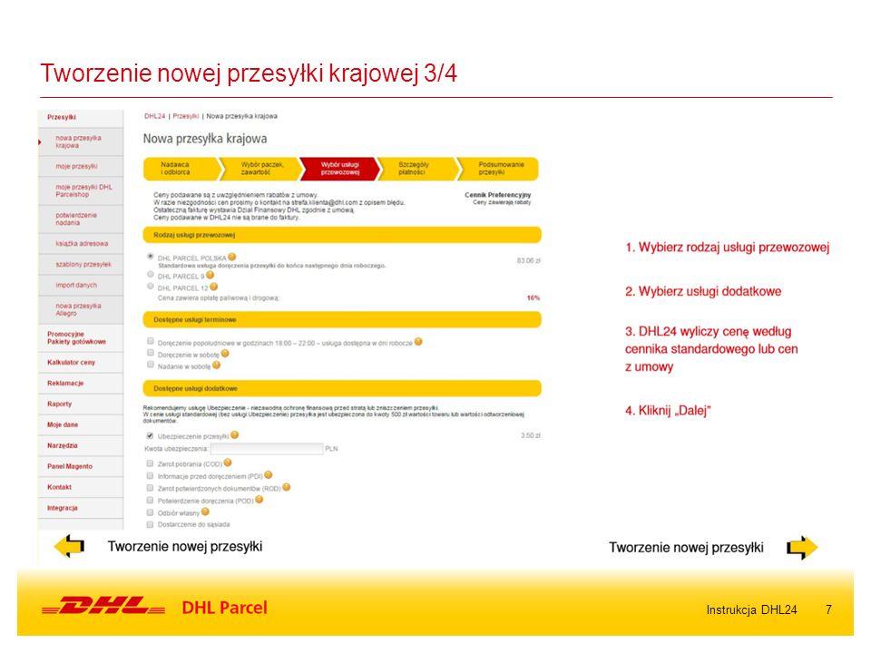 7Instrukcja DHL24 Tworzenie nowej przesyłki krajowej 3/4