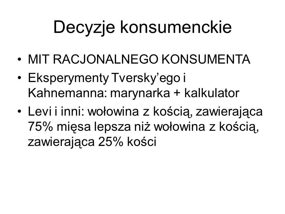 Decyzje konsumenckie MIT RACJONALNEGO KONSUMENTA Eksperymenty Tversky'ego i Kahnemanna: marynarka + kalkulator Levi i inni: wołowina z kością, zawiera