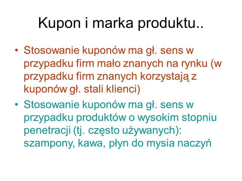 Kupon i marka produktu.. Stosowanie kuponów ma gł. sens w przypadku firm mało znanych na rynku (w przypadku firm znanych korzystają z kuponów gł. stal