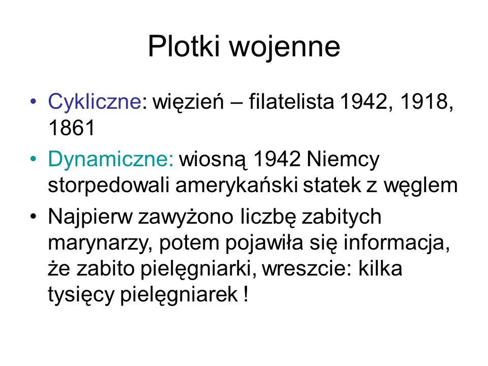 Plotki wojenne Cykliczne: więzień – filatelista 1942, 1918, 1861 Dynamiczne: wiosną 1942 Niemcy storpedowali amerykański statek z węglem Najpierw zawy