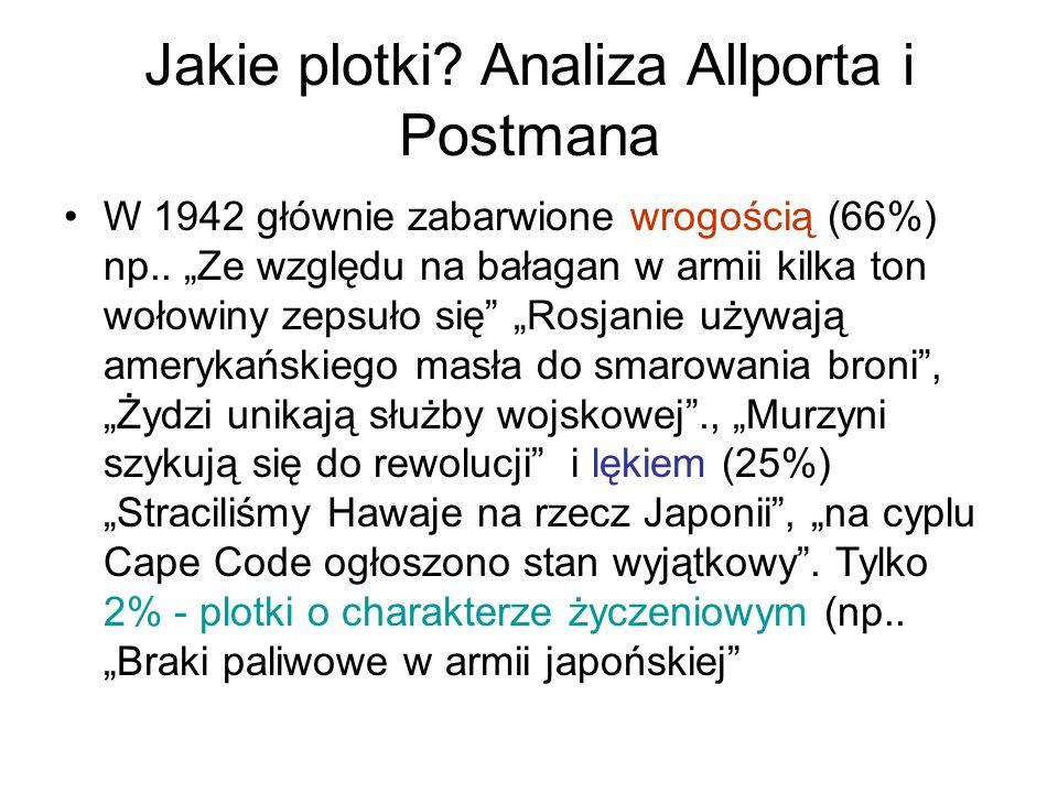 """Jakie plotki? Analiza Allporta i Postmana W 1942 głównie zabarwione wrogością (66%) np.. """"Ze względu na bałagan w armii kilka ton wołowiny zepsuło się"""