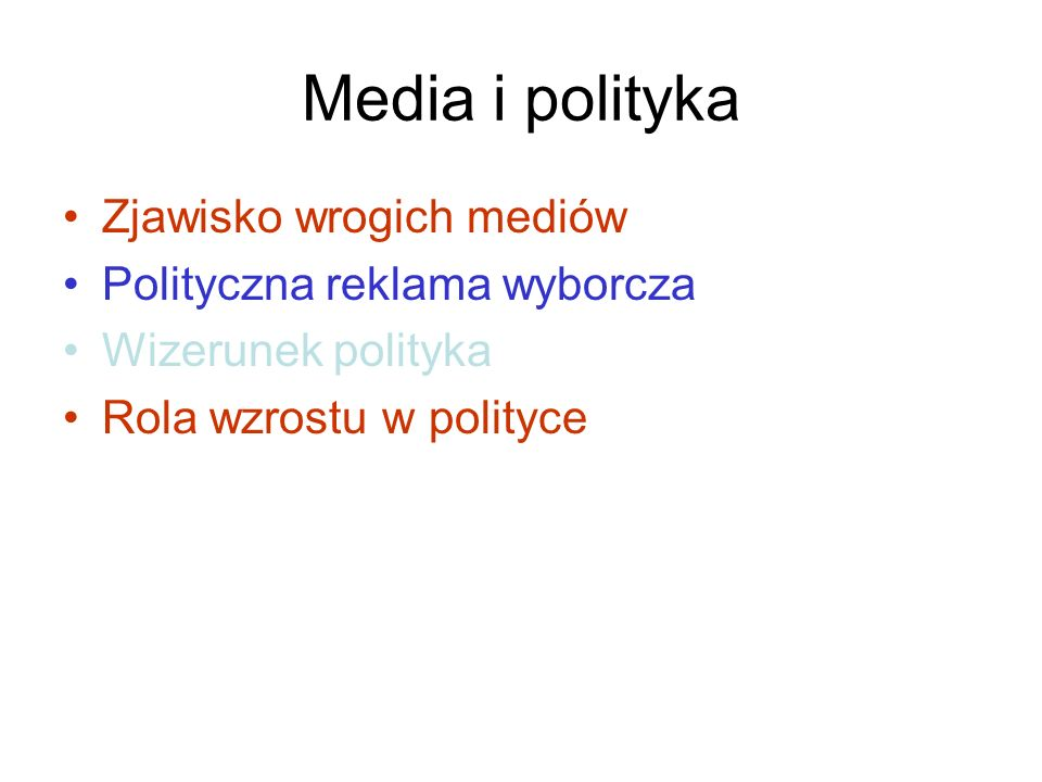 Media i polityka Zjawisko wrogich mediów Polityczna reklama wyborcza Wizerunek polityka Rola wzrostu w polityce