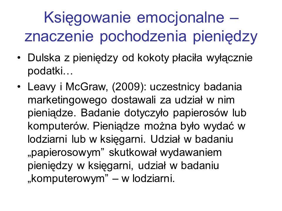 Księgowanie emocjonalne – znaczenie pochodzenia pieniędzy Dulska z pieniędzy od kokoty płaciła wyłącznie podatki… Leavy i McGraw, (2009): uczestnicy b