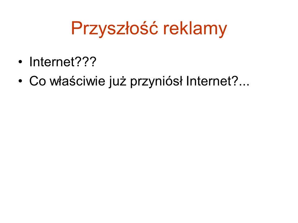 Przyszłość reklamy Internet??? Co właściwie już przyniósł Internet?...