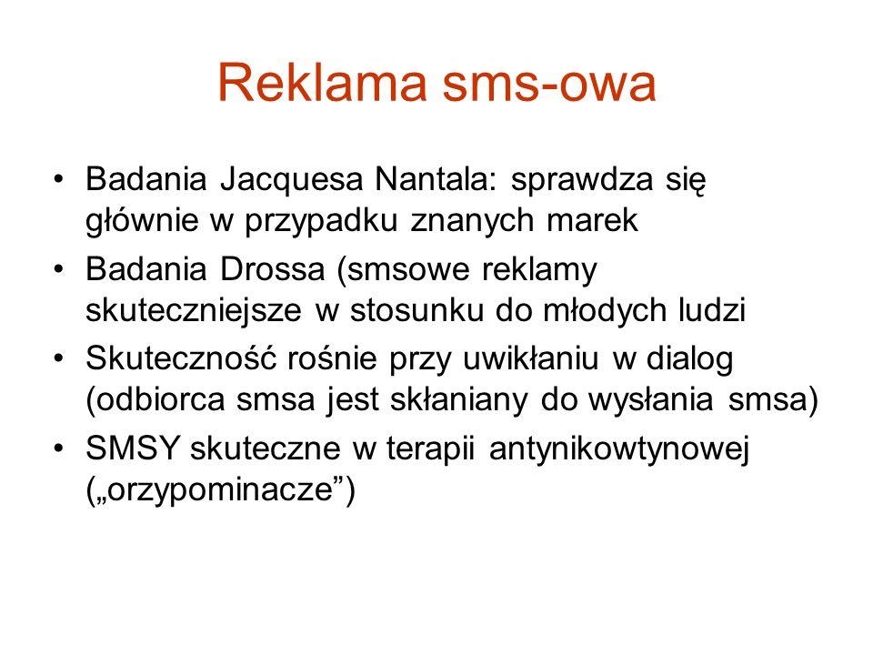 Reklama sms-owa Badania Jacquesa Nantala: sprawdza się głównie w przypadku znanych marek Badania Drossa (smsowe reklamy skuteczniejsze w stosunku do m