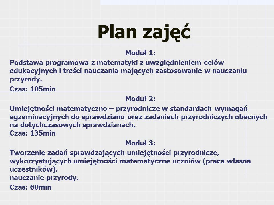 Plan zajęć Moduł 1: Podstawa programowa z matematyki z uwzględnieniem celów edukacyjnych i treści nauczania mających zastosowanie w nauczaniu przyrody.