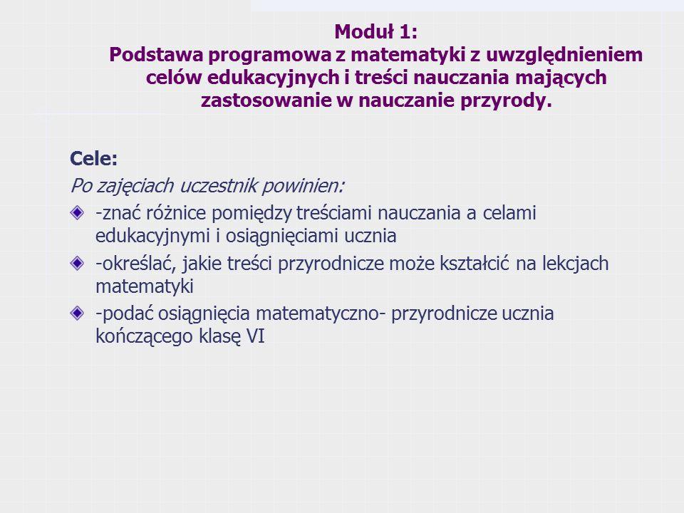 Moduł 1: Podstawa programowa z matematyki z uwzględnieniem celów edukacyjnych i treści nauczania mających zastosowanie w nauczanie przyrody.