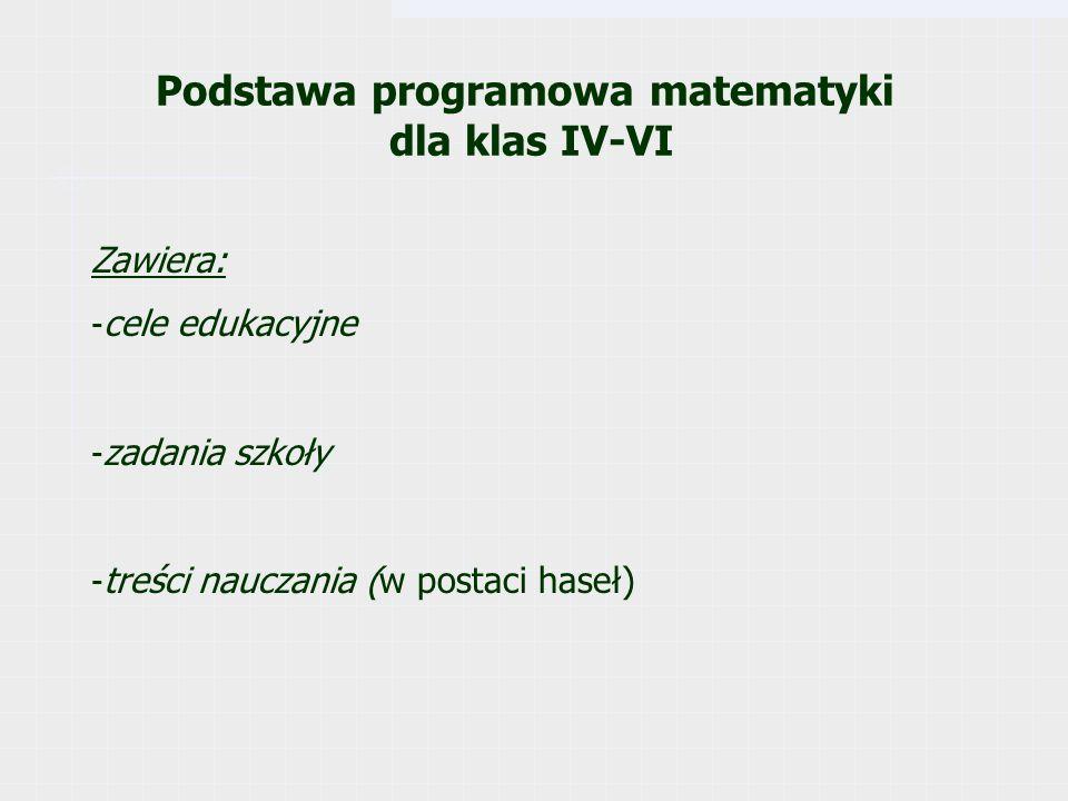 Podstawa programowa matematyki dla klas IV-VI Zawiera: - cele edukacyjne - zadania szkoły - treści nauczania (w postaci haseł)