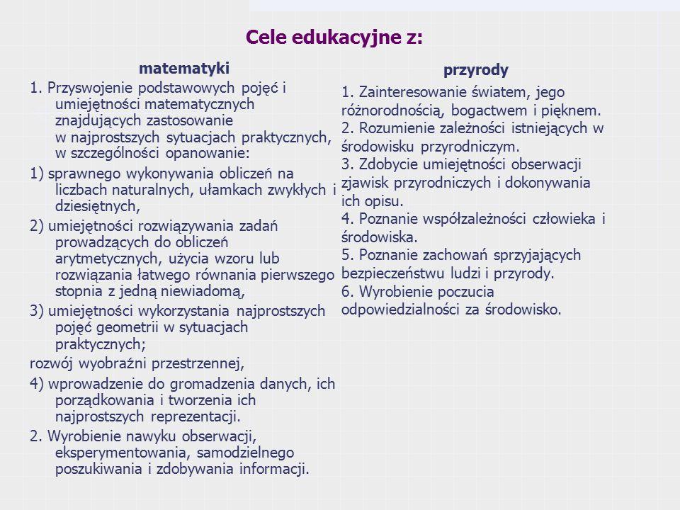 Cele edukacyjne z: matematyki 1.