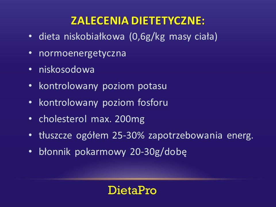 DietaPro ZALECENIA DIETETYCZNE: dieta niskobiałkowa (0,6g/kg masy ciała) normoenergetyczna niskosodowa kontrolowany poziom potasu kontrolowany poziom fosforu cholesterol max.