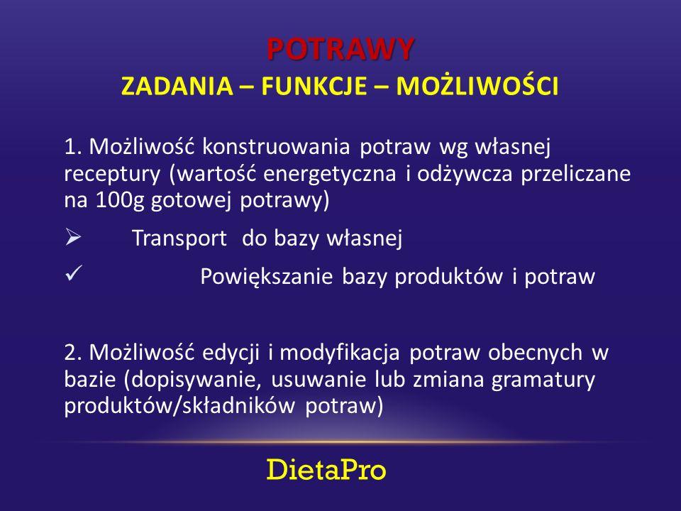 POTRAWY POTRAWY ZADANIA – FUNKCJE – MOŻLIWOŚCI DietaPro 1.